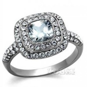 Stainless Steel High Polish Clear Cubic Zirconia Ladys Ring