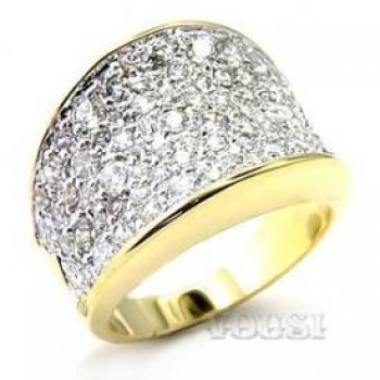 Brass Two Tone Clear Cubic Zirconia Ladys Ring