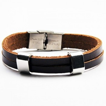 Laconic Faux Leather Chain Layered Bracelet For Men