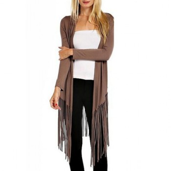 Casual Collarless Long Sleeves Pure Color Fringe Women's Blouse