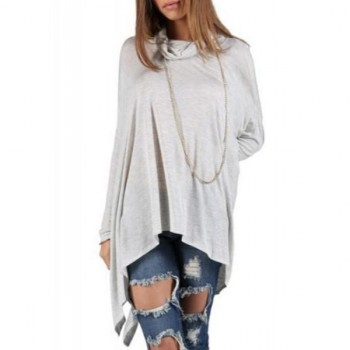 Casual Cowl Neck Solid Color Batwing Sleeve Irregular Blouse For Women