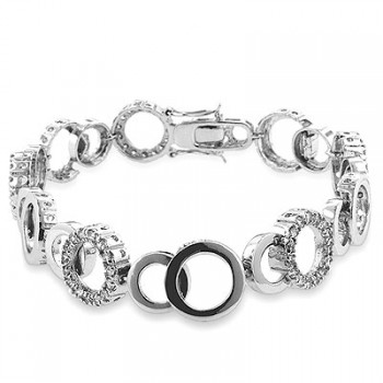 Genuine Rhodium Plated 8 Inch Bracelet with Clear Cubic Zirconia in a Prong Setting and a Box Clasp that is Circle Shaped Polished into a Lustrous Sil