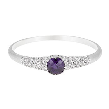 Matte Rhodium Plated Fashion Bangle with Purple and Clear Cubic Zirconia Pave Set around a 2.5 Inch Diameter Bangle Polished into a Lustrous Silverton