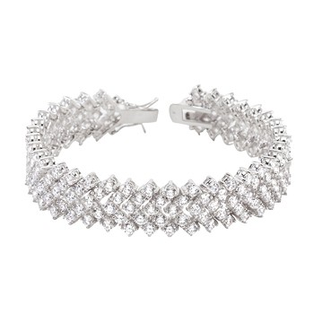 Genuine Rhodium Plated 7 Inch Tennis Bracelet with Chevron Design with Round Cut Cubic Zirconia and Lock Clasp Polished into a Lustrous Silvertone Fin