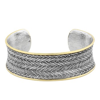 Two-Tone Bracelet Cuff 65 mm in Inner Diameter