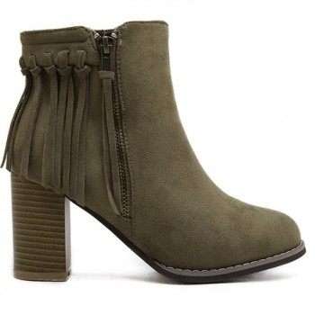 Trendy Women's Short Boots With Flock and Fringe Design