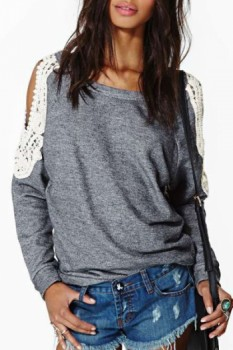 Chic Scoop Collar Long Sleeve Lace Spliced Cut Out Sweatshirt For Women
