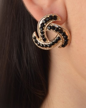 Spiral Triangle Rhinestone Accented Earring-