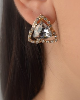 Rhinestone Studded Triangle Earring