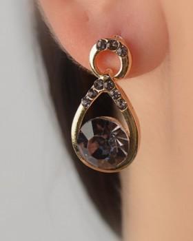 Multifaceted Crystal Teardrop Earring