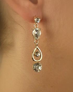 Rhinestones Accented Teardrop Dangler Earring