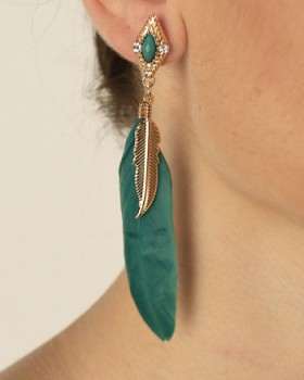 Solid Colored Feather Earrings