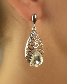 Carved Teardrop Earring with Teardrop Rhinestone Accent