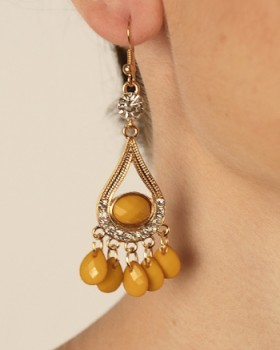 Stone Studded Drop Earrings with Danglers