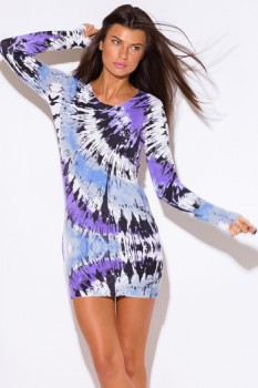 Purple tie dye print long sleeve ribbed banded cashmere blend tunic sweater mini dress