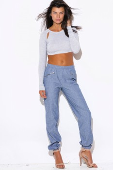 Blue chambray zipper trimmed jogger pants