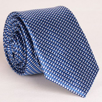 Exquisite Full Tiny Blue Grid Pattern Neck Tie For Men
