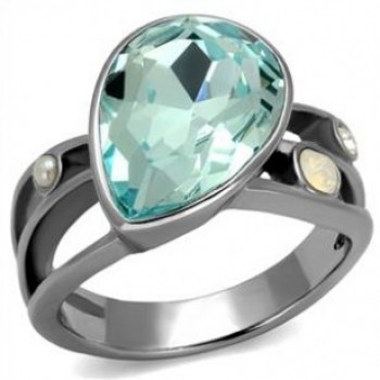 Pear Shape Sea Blue Crystal Cocktail Ring