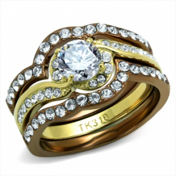 Light Brown Stainless Steel AAA Grade CZ Wedding Ring Set