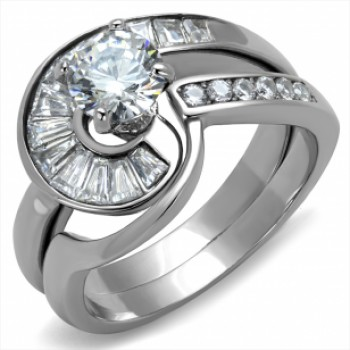 Women's Stainless Steel 1.45 ct. CZ Ring