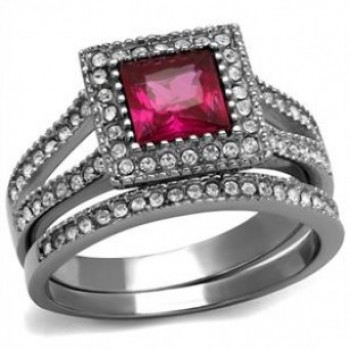 Ruby Colored CZ Square Stainless Steel Ring
