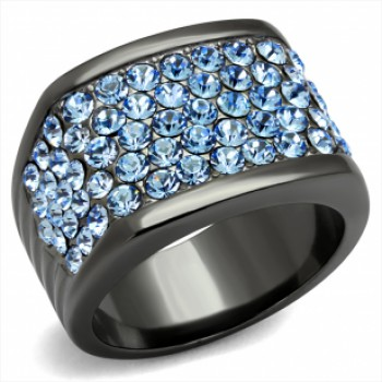 Light Blue Crystal Pave Stainless Steel Ring