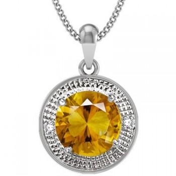 3.27ct Citrine With Diamond Pendant