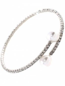 Rhinestone Accent With Pearl Memorial Wire Bracelet