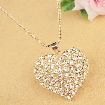 Sweet Rhinestone Heart Pendant Women's Sweater Chain Necklace