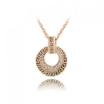 Fashion Rhinestone Hollow Round Pendant Necklace For Women