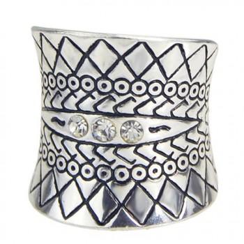 Stylish Rhinestone Engraved Ring For Women