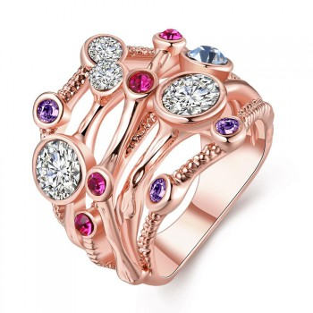B Fashion Jewelry Rose Gold Plated Ring