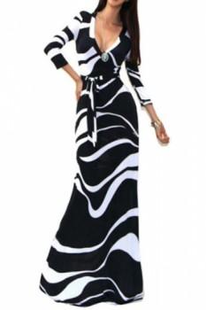 Novelty Plunging Neck Abstract Print High Waist Maxi Dress For Women