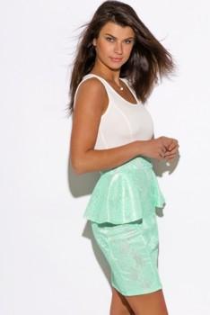 Women's mint lace print white peplum party mini dress