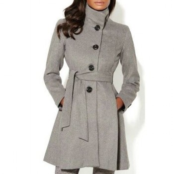 Stylish Stand Collar Long Sleeve Pure Color Women's Self-Tie Coat