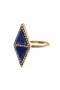 DOUBLE FAUX STONE TRIANGLE CRYSTAL RING