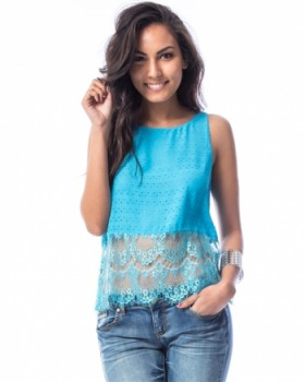 BLUE PERFORATED LACE HEM TANK TOP