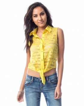 YELLOW FRONT TIE LACE CROPPED TOP