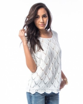 WHITE SCALLOP HEM CROCHET BLOUSE