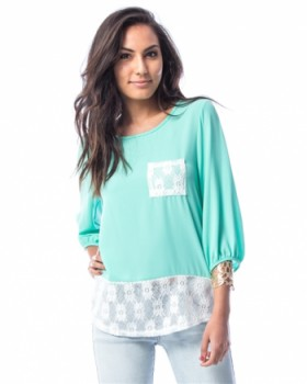 MINT LACE CONTRAST POCKET TUNIC