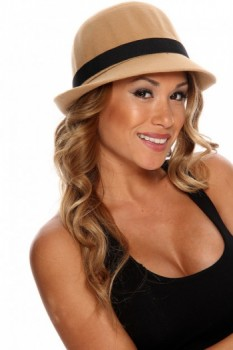 Camel Side Bow Accent Fedora Hat